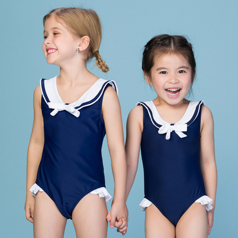 2017 Classic Children Swimming Clothes Navy Blue Girls Swimwear One Piece Swimsuit with Hat Kids Bathing Suits Student Swim Wear kids swimming suits for girls one piece swimsuit swimwear children 2018 new green printing one piece retro baby biquini