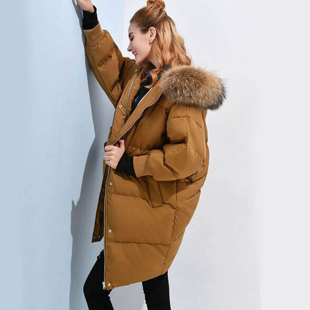 Large Real Natural Raccoon Fur 2018 New Style Winter Jacket Women Long Parka Loose Thicken Warm Coat 90% White Duck Down Jacket