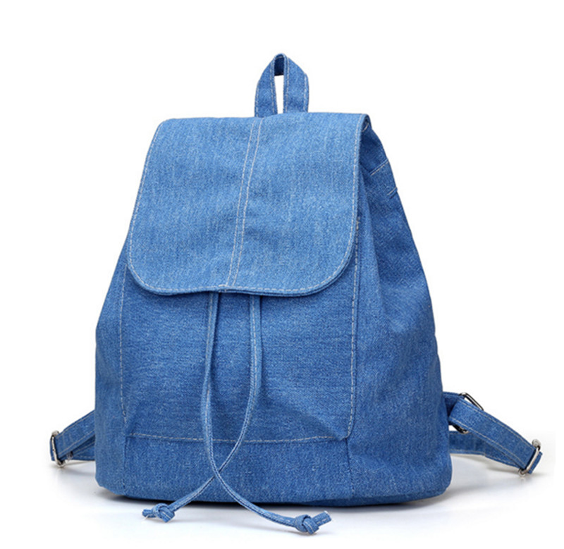 Cheap Women denim Backpacks for teenage Girls Small Drawstring Backpack jeans for Teenage Sac A Dos New Solid School Rucksacks стоимость
