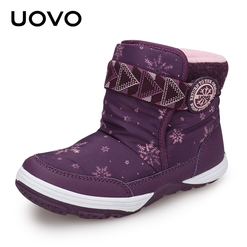 UOVO EU 24-36 2017 NEW Children Snow Boots Kids For Shoes Girls Winter Ankle Boots Winter Female Child Boot Boy Warm Velvet Boot uovo baby girls snow boots 2017 new faux fur plush kids high boots glitters children shoes soft sole winter boots for toddlers