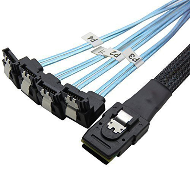 Wholesale universal Profeesional Mini Standard SAS 4i SFF-8087 36P to 4 SATA 7P HDD Hard Drive Splitter Cable 6Gbps 1 5ft 0 5m slim line sas 4 0 sff 8654 4i 38pin host to 4 sata 7pin target hard disk fanout raid connecting cable 50cm