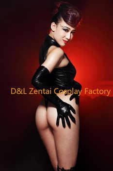 送料無料dhl大人セクシーな衣装黒シャイニーメタリックタイツキャットスーツ用女性my004