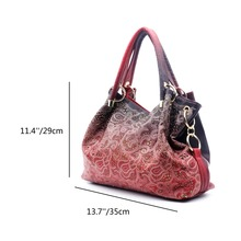ZENTEII Women Faux Synthetic Leather Hollow Carved Handbag