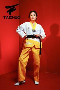 Image 5 - Nova flor fogo taekwondo uniforme adulto tae kwon do estrada homem e mulher de mangas compridas taekwondo costura doboks