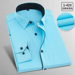 Image 5 - İlkbahar sonbahar artı boyutu 8XL katı erkek iş gömlek uzun kollu Casual Slim Fit pamuk erkek beyaz çizgili sosyal elbise gömlek adam