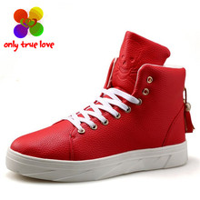 2016 Men Printed Skull PU High-top Casual Shoes Fashion Red Black White Men's Hip Hop Street Personalized Flats Shoes