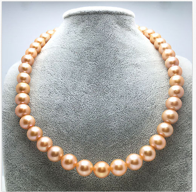 elegant round south sea 9-10mm gold pink pearl necklace 18inch 925s >Selling jewerly free shipping