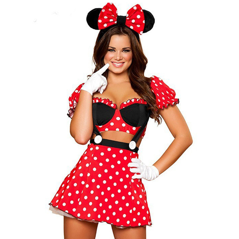 Miney Mouse Women Dress Love Live Cosplay Disfraces Erotic Adults Fantasy Adult Mini Anime Costumes Sexy Lingerie Dress