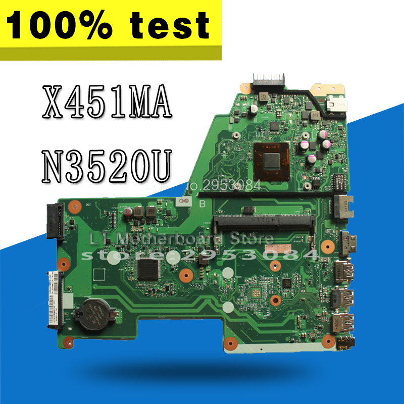 цены X451MA Motherboard REV2.1 N3520 CPU For ASUS X451MA Laptop motherboard X451MA Mainboard X451MA Motherboard test 100% OK