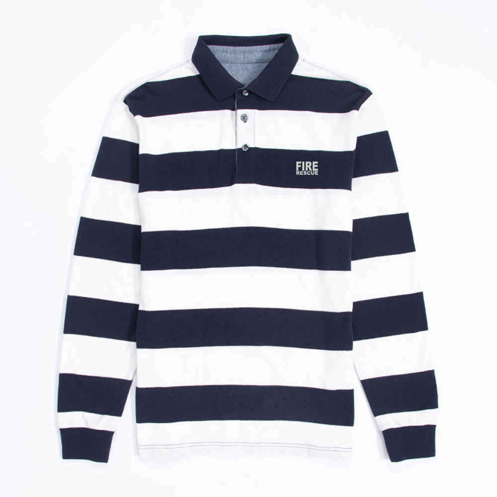 Mens FIRE RESCUE Reflective-Duty Embroidered Knit Striped Long Sleeve   Polo   Shirts