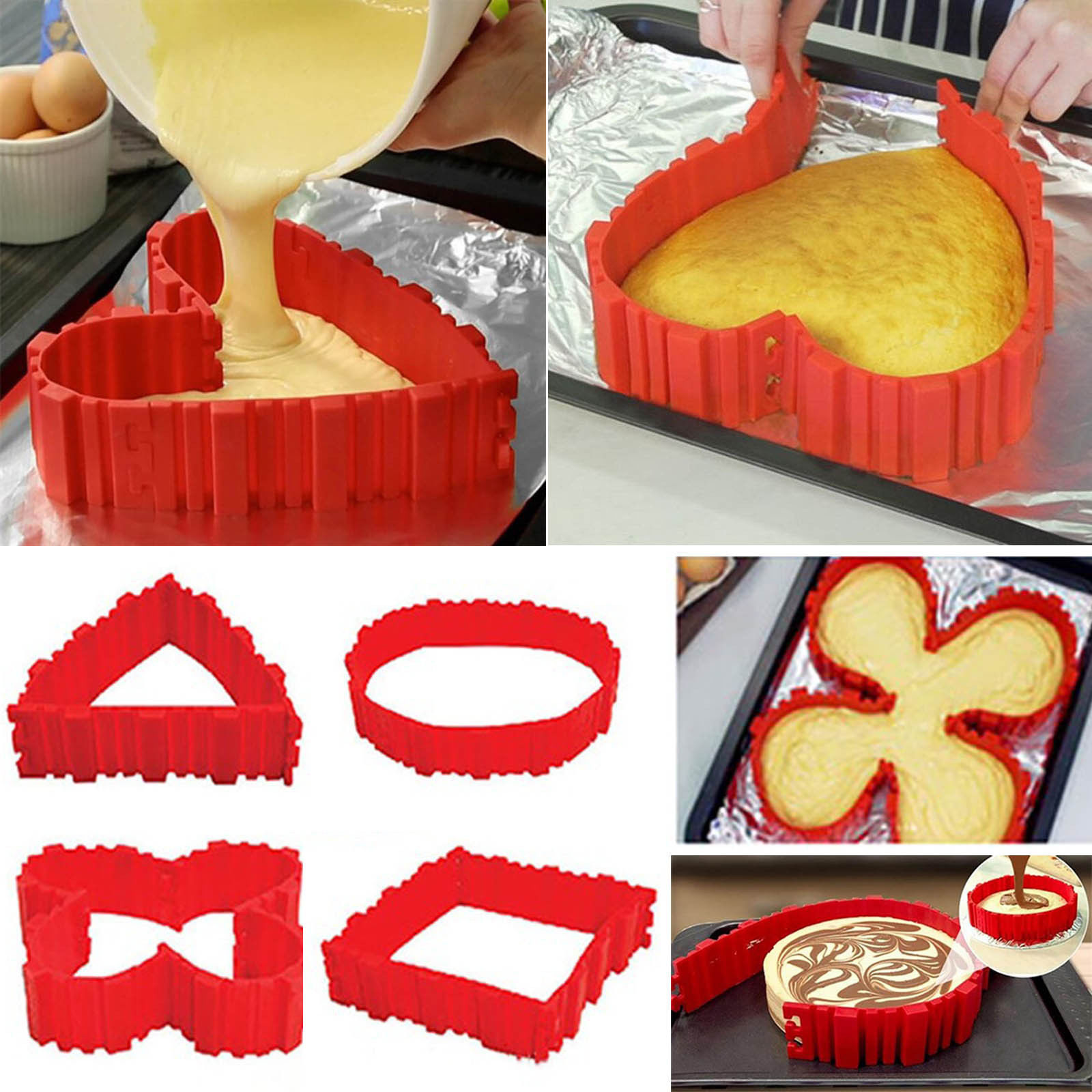 4pcs / Lot Magic Cake Mould Bake ormar Mat Betyg Silikon Pan Kvadrat Rektangulärt Hjärta Runda DIY Bake Snake Mögel