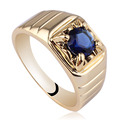 Gold Plated on 925 Sterling Silver Ring Men's 6mm Round Stone Solitaire Jewelry Anillo Hombre R113 Size 10 11 12 13