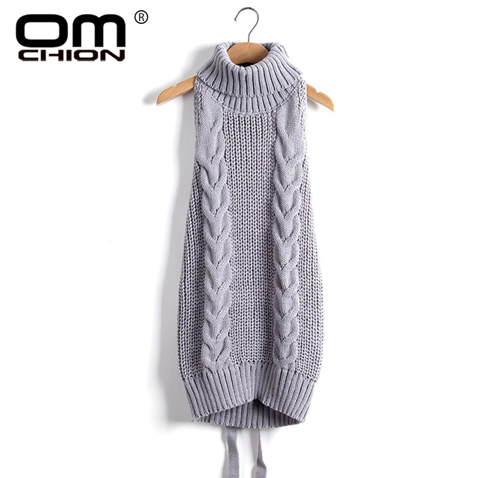 2017 Summer New Turtleneck Sleeveless Long Virgin Killer Sweater Japanes Knitted  backless Women Sweaters And Pullovers WM03