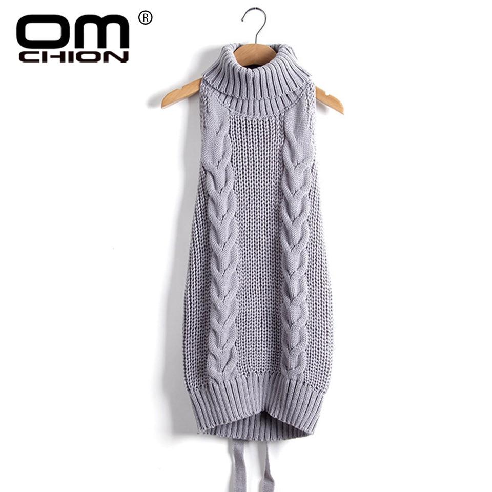 2017 Sommar Ny Turtleneck Ärmlös Long Virgin Killer Sweater Japanes Stickad Sexig Ryggfri Kvinnor Tröjor Och Pullovers WM03