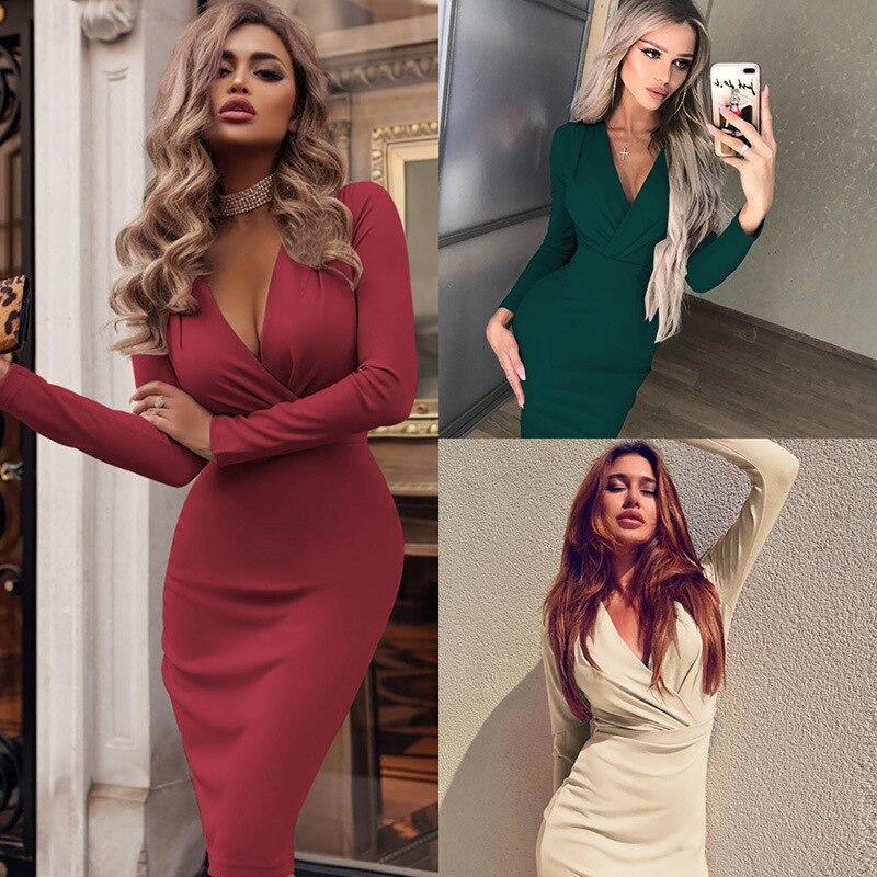 Backlakegirls Womens Dress Vestido Long Sleeve Slim Bodycon Dress Tunic V Neck Casual Sexy Dress New Arrival Drop Shipping