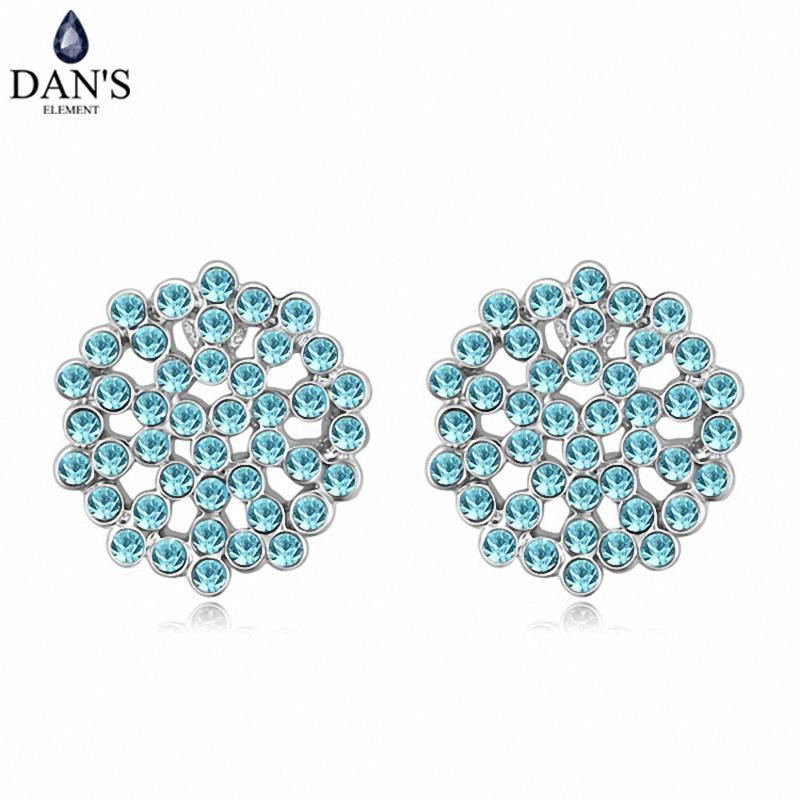 DANS 5 Colors Real Austrian crystals Stud earrings for women Earrings s New Sale Hot Round 120563