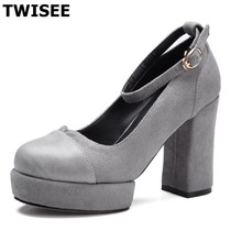 Cow Suede nubuck leatherzapatos mujer women high heels shoes Buckle Strap platform extrem high heels 10cm Square heel