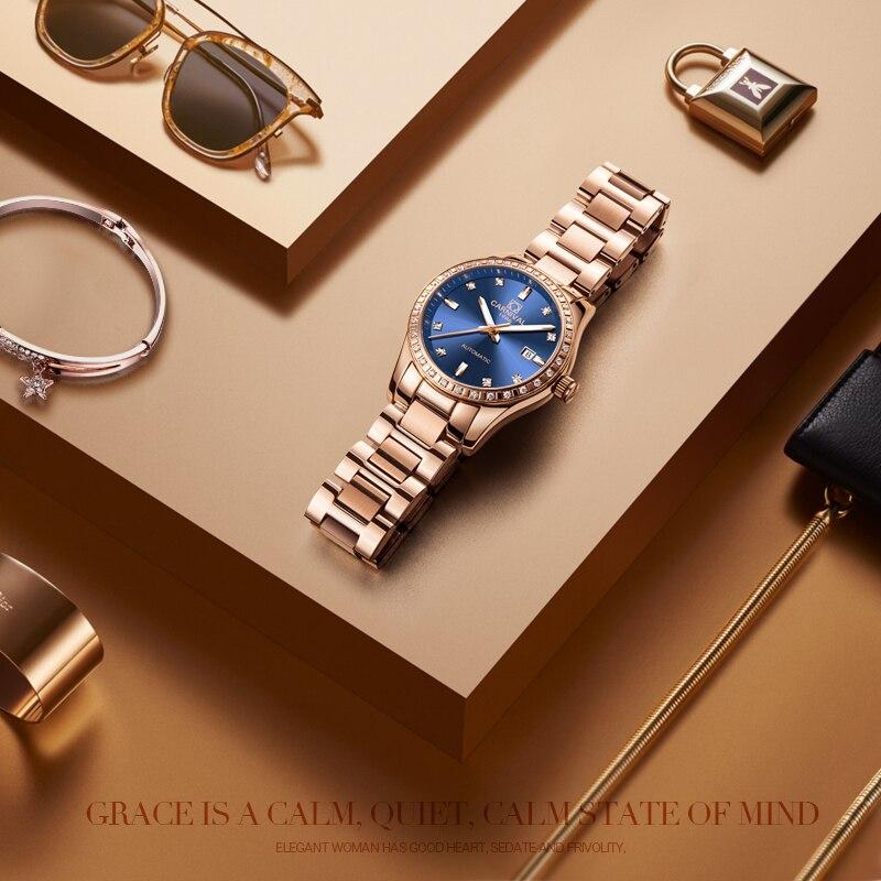 Femmes automatique mécanique montre dames de luxe saphir bleu cadran fille robe entreprise horloge de mode marques Auto Date Relogio - 6