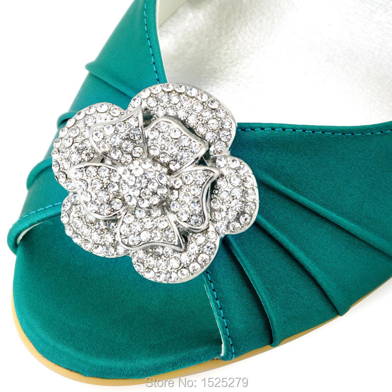 ffa1bcd3fa06 Fast Shipping EP2005 Women Shoes Formal Bridal Party Pumps Round Toe Wedge  Heel Rhinestone Satin Wedding Bride Dress ShoesUSD 54.99 pair