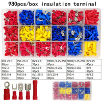 980pcs/box assorted full insulated fork U type set terminals connectors assortment kit electrical wire crimp spade ring terminal