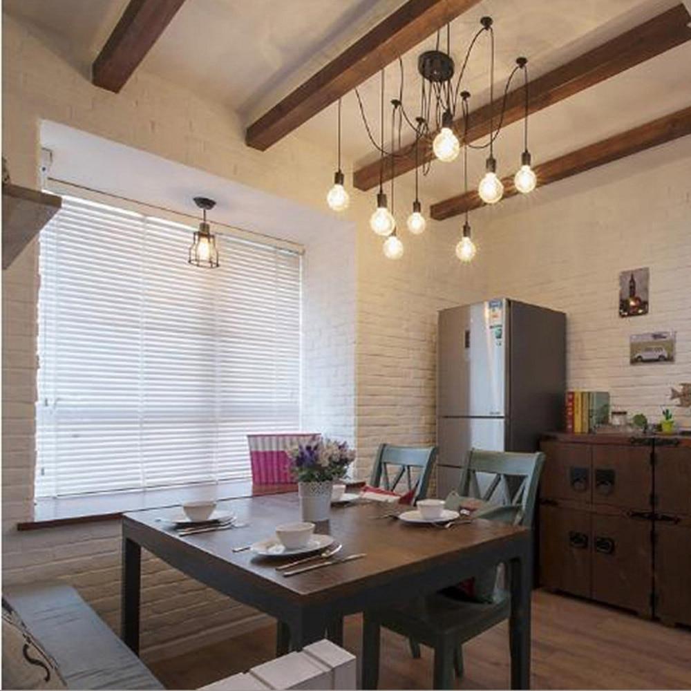 Tomshine 6 Arms Antique Chandelier Ajustable DIY Ceiling Lamp Spider E27 Retro for Living&Dining Room Decor
