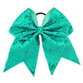 8 Girls Large Cheerleading Bows With Elastic Bands Boutique Girls Ribbon With Full Sequin Bling Hair Accessories