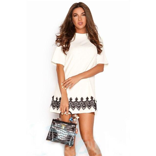 ec1c62e5bd5 Summer Dress 2018 New Women Lace Vintage Casual Mini Dress Black White  Short Sleeve O-Neck Beach Sundress