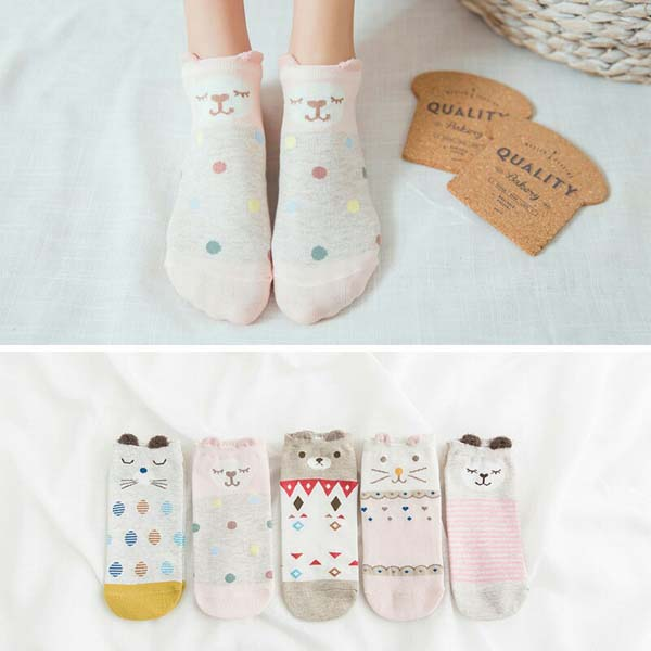 HTB1fRjSbNiH3KVjSZPfq6xBiVXan - 5Pairs/Lot Summer Cartoon Cat Fox rabbit Socks Cute Animal Women Socks Funny Ankle Socks Ladies Cotton invisible socks