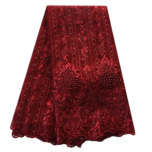 Wine burgundy heavy bridal beaded lace fabric high quality african french lace  wedding nigerian laces latest 2018 net lace 9109867cc171