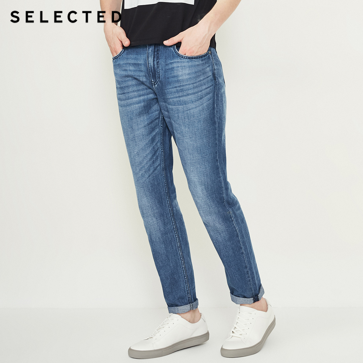 SELECTED male the new cotton and linen do old edge grinding prewashed casual   jeans   C | 418332513