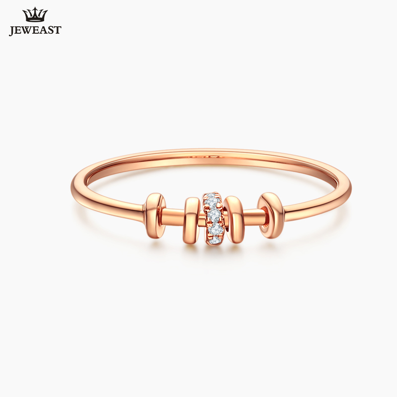 18K Gold Pure Gold Ring Real 18K Gold Solid Gold Rings Beautiful Upscale Trendy Classic Party Fine Jewelry Hot Sell New 2018