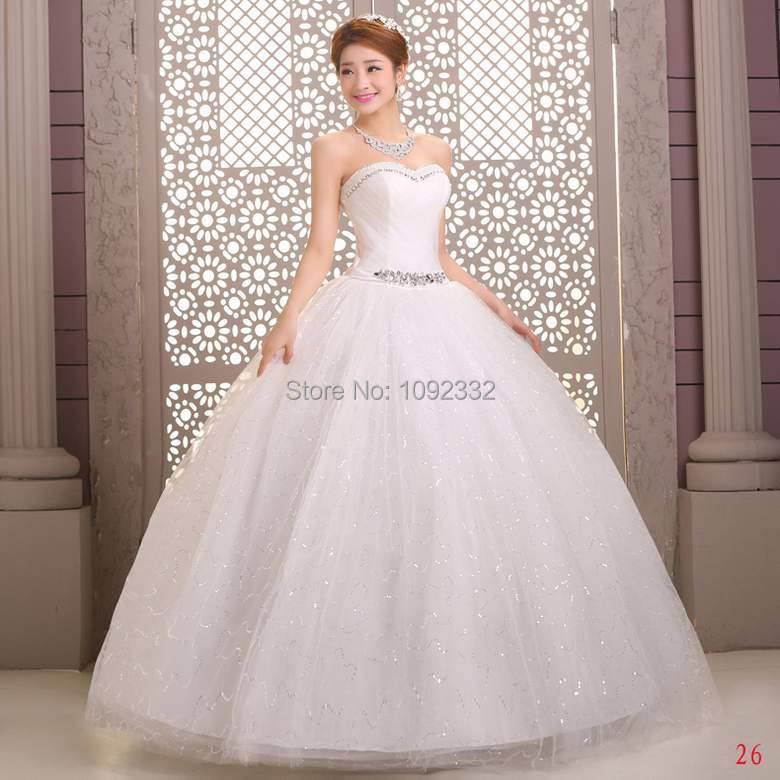 z w 2016 new plus size stock Bridal gown chinee princess  wedding dress bandage lace paillette tube top long simple lace A49