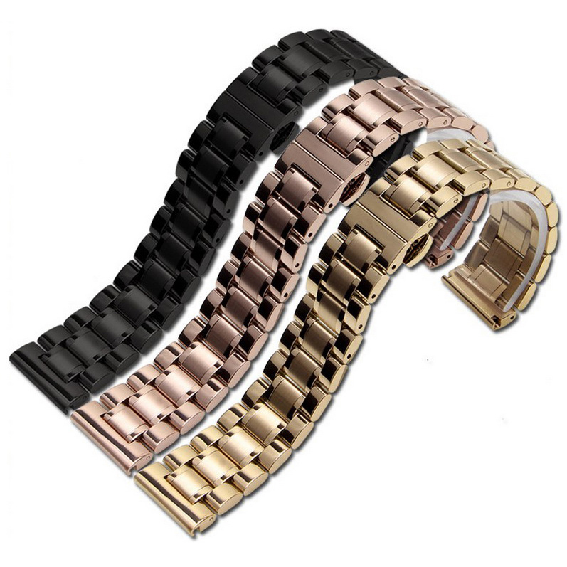 14mm 16mm 18mm 22mm 24mm Stainless Steel Watch band Strap Bracelet Watchband Wristband Butterfly clasps Rose Gold Silver in Watchbands from Watches
