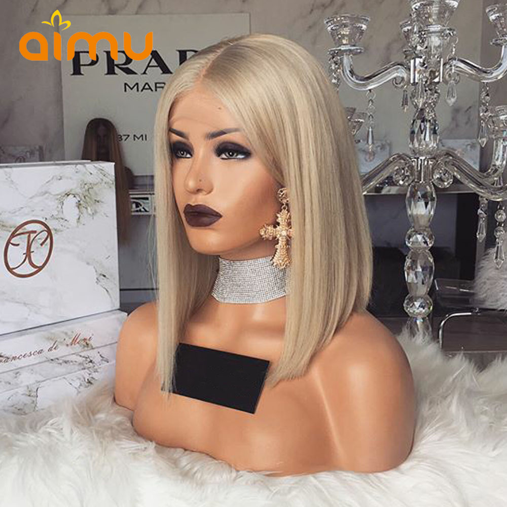 Ash Blonde Short Bob Human Hair Wigs Preplucked Short Blonde Lace Front Wigs With Baby Hair Transparent Lace Wigs Aimu Hair(China)