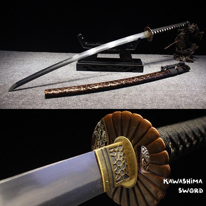 Verdadeira Katana Japonês Dobrado Lâmina de Aço Handmade Espada Samurai Completa Tang Afiada Marca Abastecimento Nova-41 Polegada Comprimento