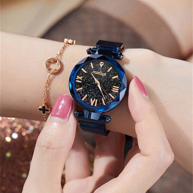Fashion 2019 Magnetic Starry Sky Watches Women For Luxury Brand Female Clock Ladies Wrist Watch Relogio Feminino zegarek damski 1