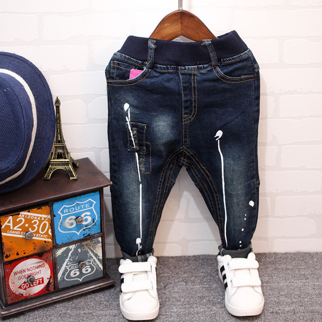 Мальчик новые джинсы осень 2016 Корейской моды дети джинсы краска ноги бесплатная доставка