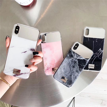 Tfshining Luxury Makeup Mirror Marble Phone Cases For iPhone X XS Max XR Soft Silicone Cover 7 8 6 6s Plus Case Coque