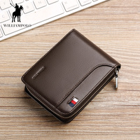 WILLIAMPOLO 2018 High Quality Short Zipper Black Men Wallets Brand Genuine Leather Wallets Card Holder Mens Purse POLO175112