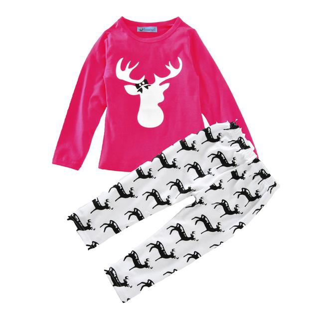 2016 Auturn/inverno Menina Conjunto De Roupas de Natal Dos Cervos Do Bebê Roupa Dos Miúdos T-shirt + Pant Para As Meninas Da Criança 2 pçs/set H00248