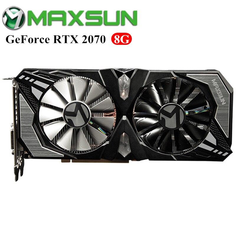 Cartes graphiques vidéo MAXSUN Nvidia GeForce RTX 2070 8 GB pour le jeu avec GDDR6 256bit 1410 MHz + cœurs CUDA 2304 + DP/HDMI/DVI