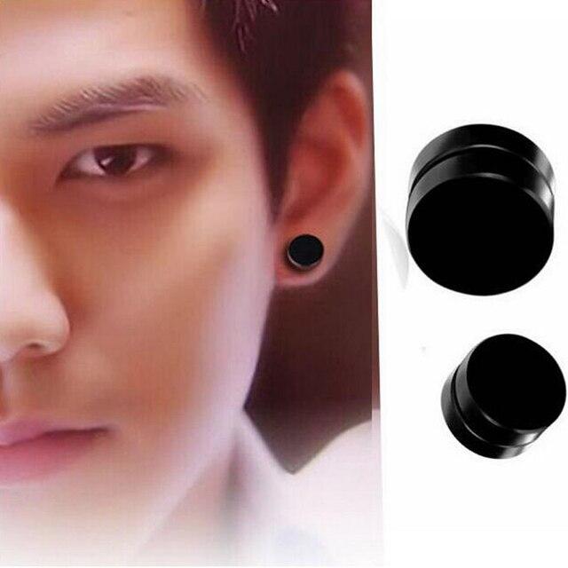 2sets Men Women Trendy Round Magnetic Clip Black Stud Earrings Magnet Magic Body