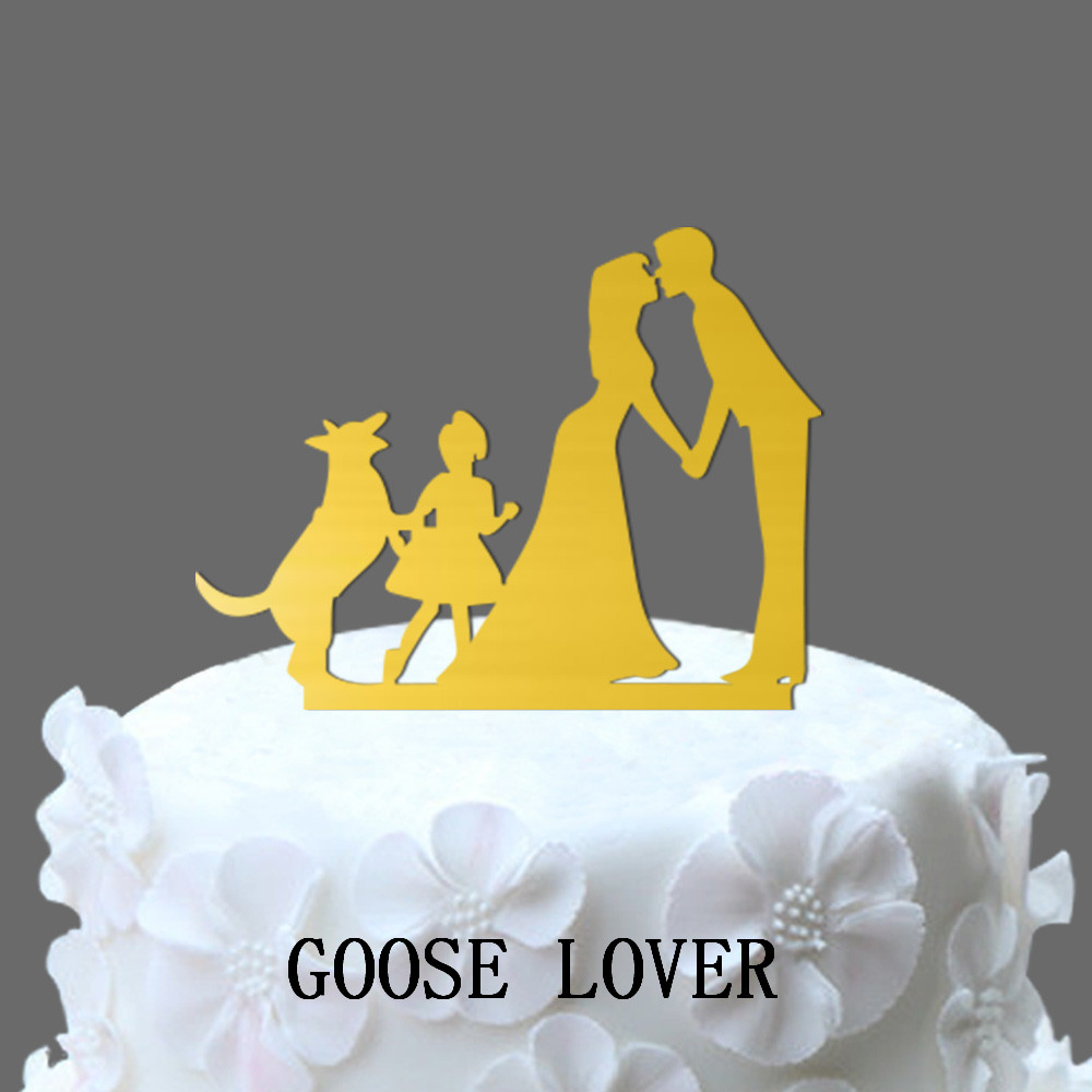 Man Woman Wedding Cake Topper, Family Wedding Cake Topper With Dog ...