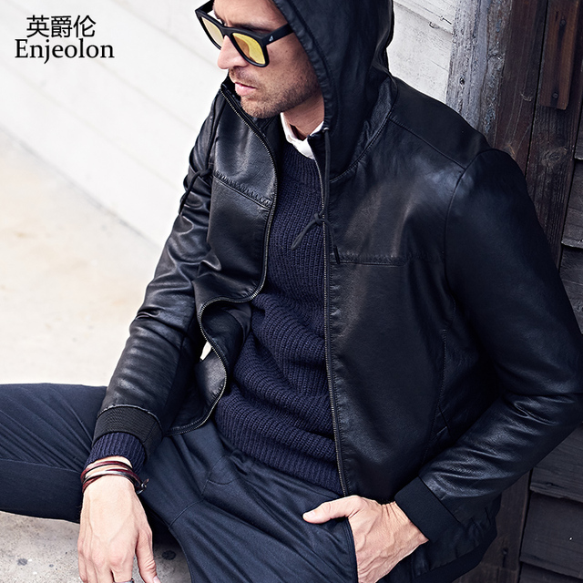 Enjeolon брендовая Новинка 2017 мотоцикл мужской куртка из искусственной кожи, на молнии с капюшоном и воротником пальто мужской Повседневное черный Пальто и пуховики P302