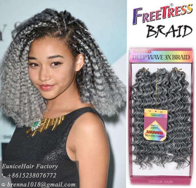 3pcs Pack Synthetic Braiding Hair Freetress Braids Deep Wave Twist Bohemian Styles Crochet Jerry
