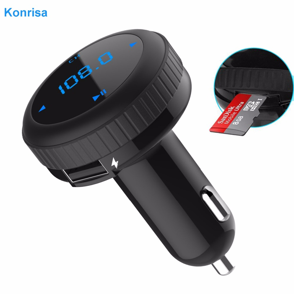 Sada handsfree do auta Modulátor FM vysílače Bluetooth 4.2 Auto MP3 přehrávač LED monitor Dual USB podpora TF karta USB flash driver