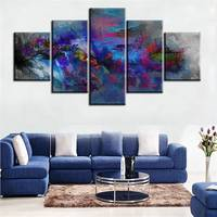 5 Pcs No Frame Home Printed Colorful Trees Oil Painting Canvas Prints Wall Art Pictures For Living Room Decorations Canvas multi