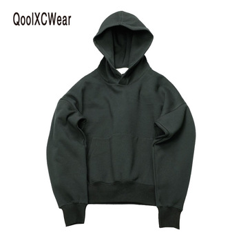 QoolXCWear good quality nice hip hop hoodies with fleece WARM winter mens kanye west hoodie sweatshirt swag solid Olive pullover 1