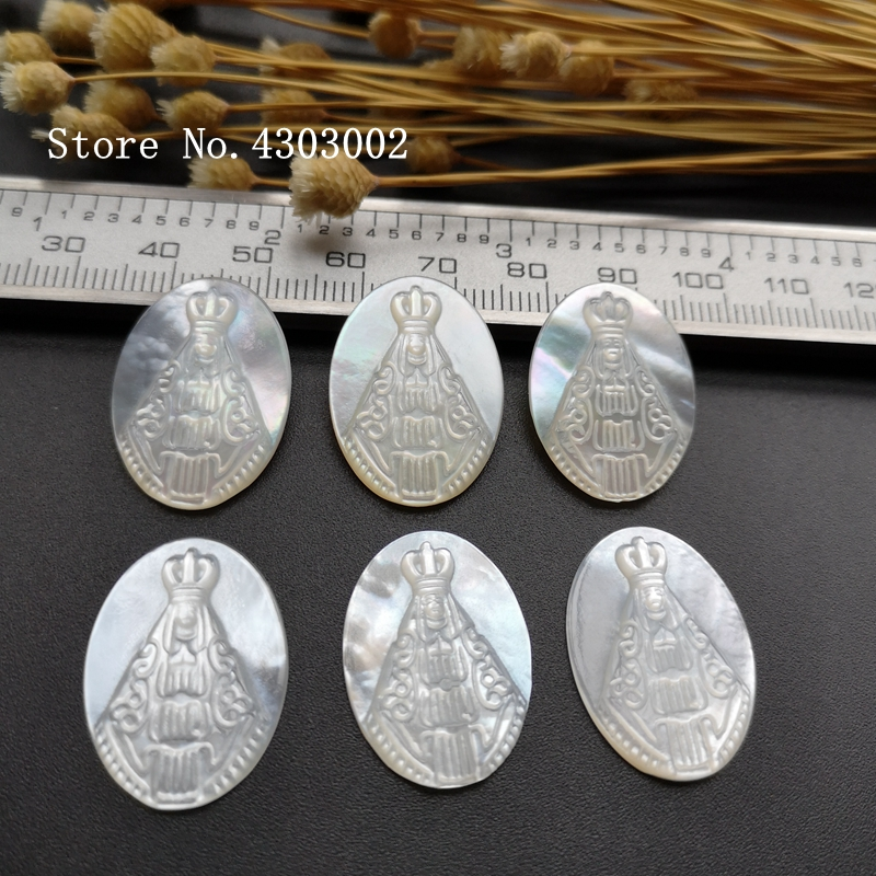 50pcs lot Natural Oval Lady Of Aparecida Mother of Pearl Shell Beads Oval Madonna Pearl Shell