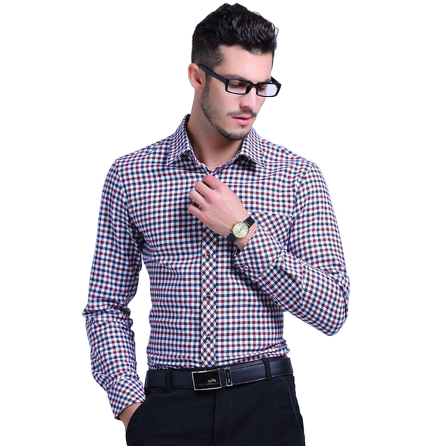 2016 Spring Cotton Men Plaid Shirts Long Sleeve Cotton Man Casual Shirt Male Clothes camisa masculina chemise homme